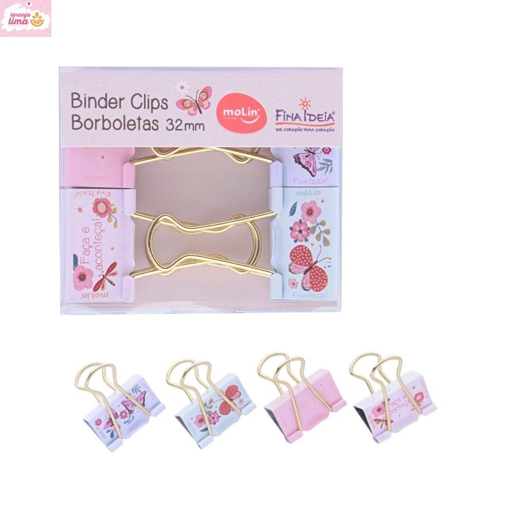 Binder Clips Borboletas Molin 32mm Com 4