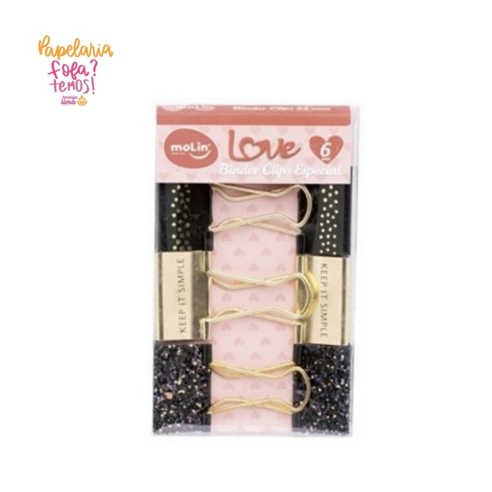 Binder Clips Especial Molin Preto Love 32mm Com 6