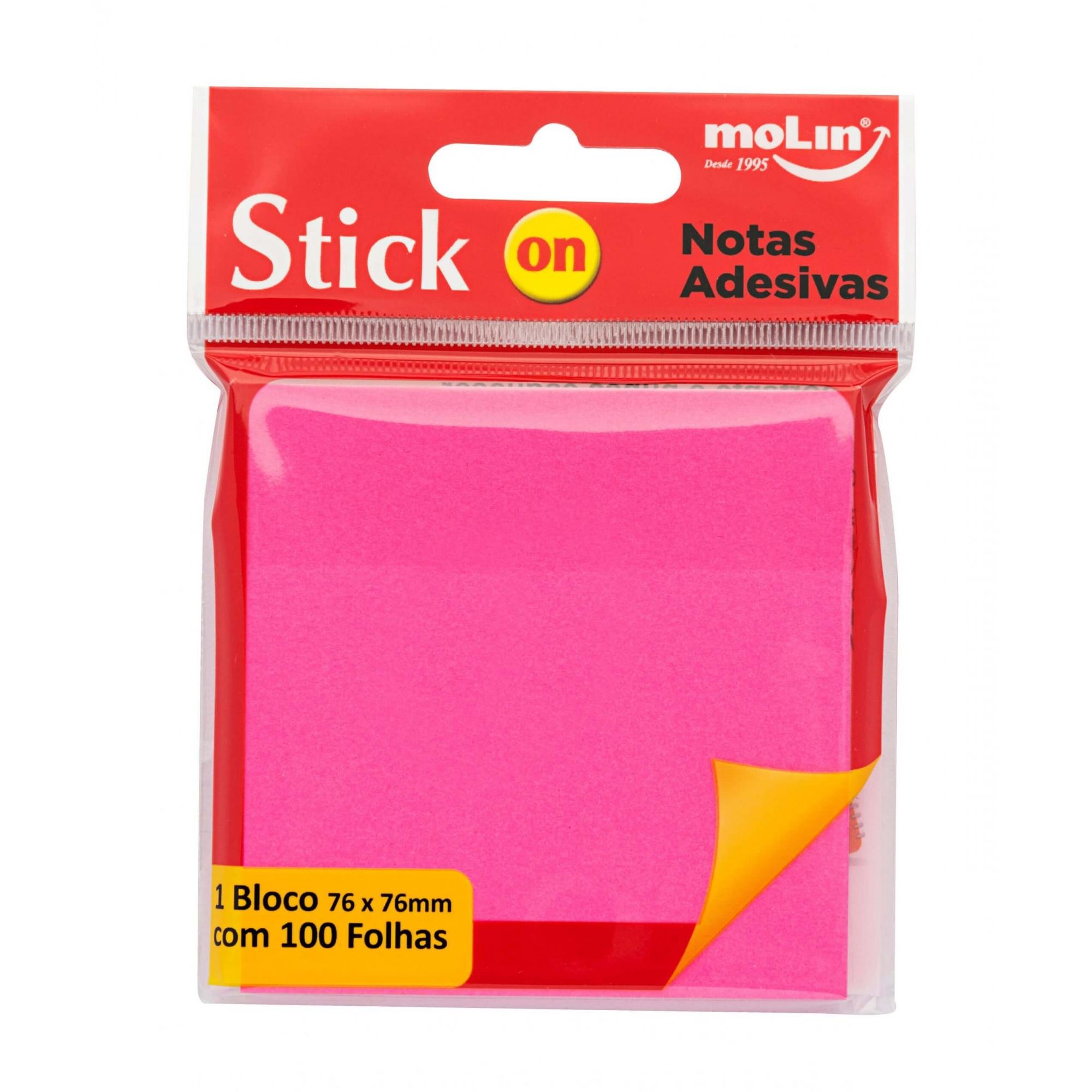 Bloco Adesivo Rosa Neon Molin