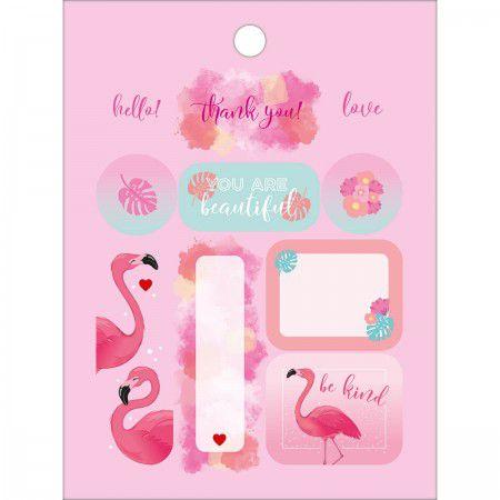 Bloco de Adesivos Flamingos