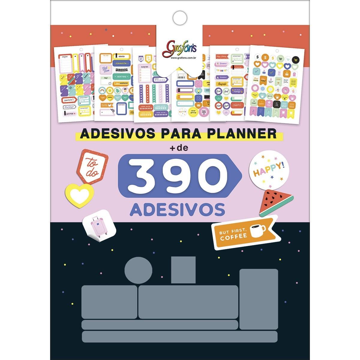 Bloco de Adesivos Para Planner com 390 Unidades
