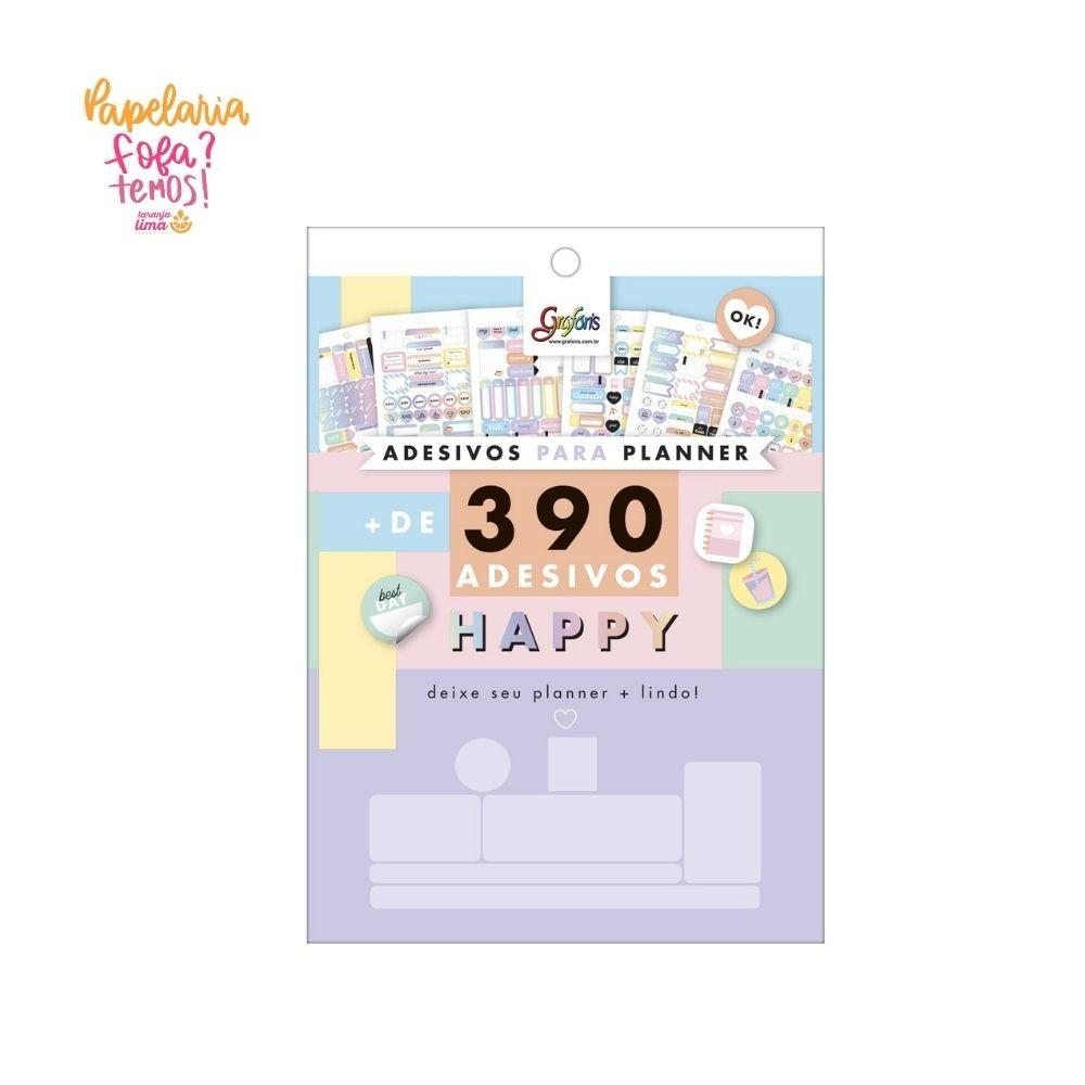 Bloco de Adesivos Para Planner HAPPY com 390 Unidades