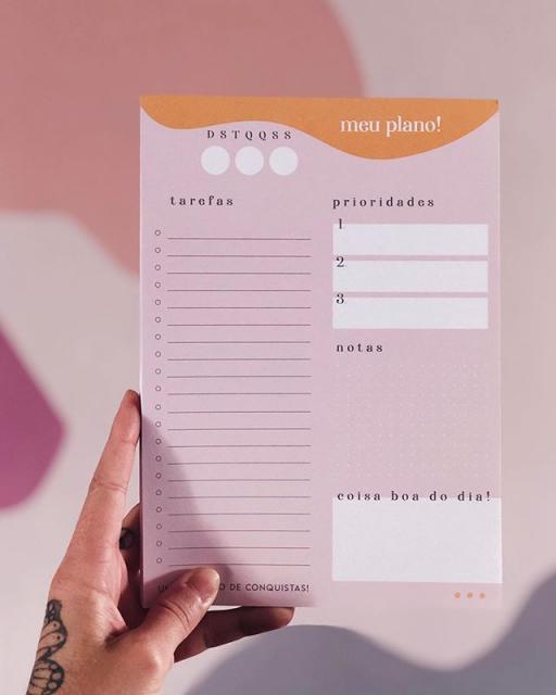 Bloco Diário Meu Plano - Planos Pontilhados