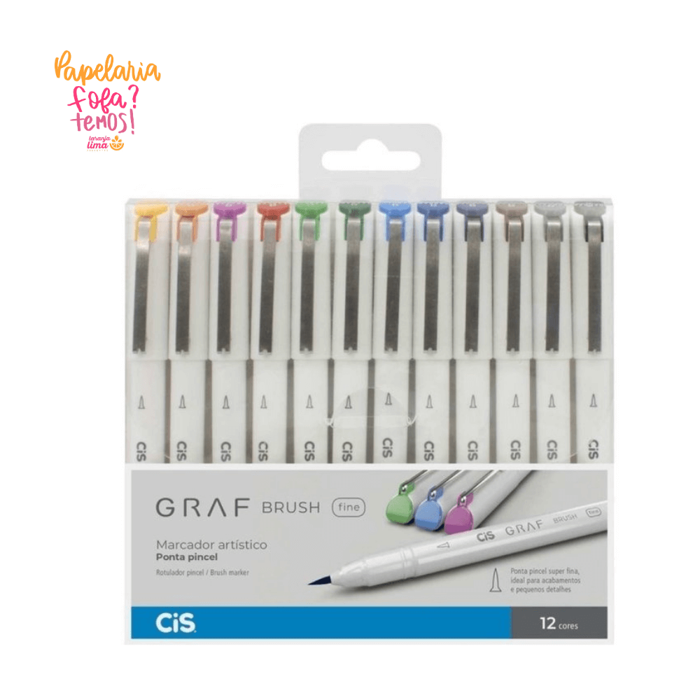 Brush Pen Cis Graf Brush Fine Com 12 Cores