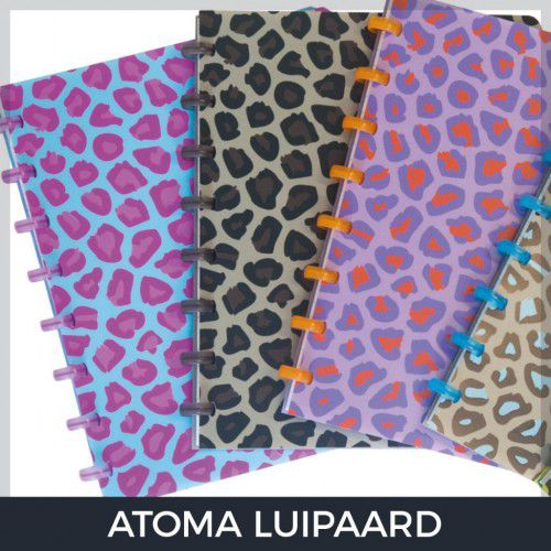 Caderno A4 Pautado Luipaard Violeta/Laranja Atoma