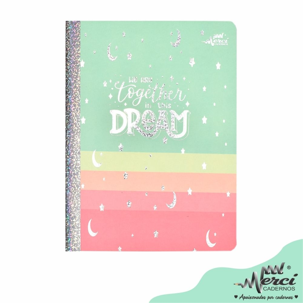 Caderno Brochura Dreams Merci Tamanho Colegial