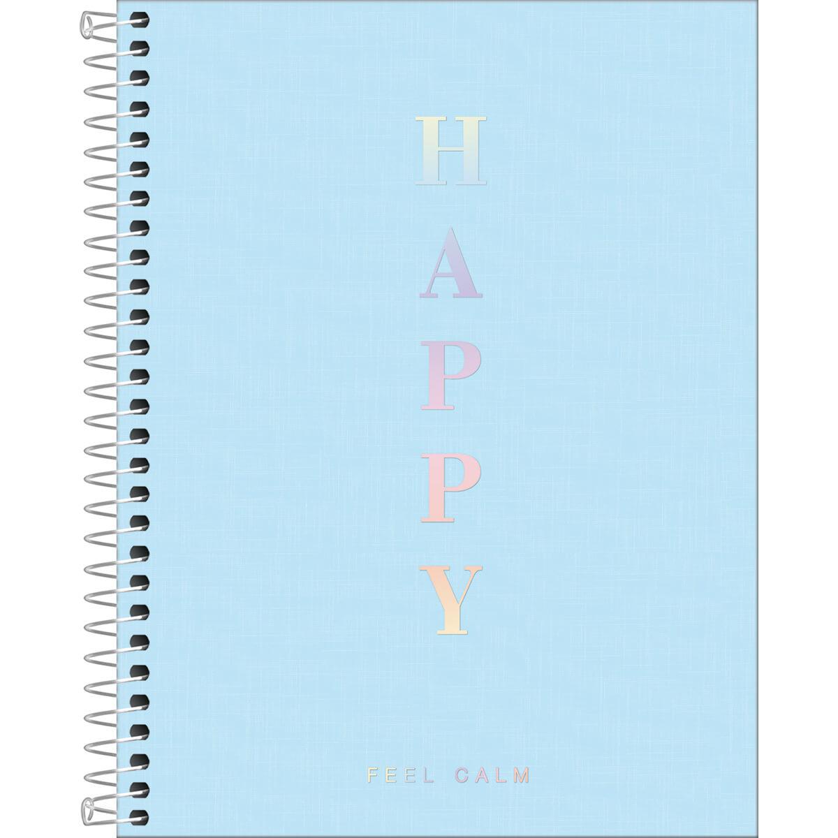 Caderno Colegial Happy Azul 1 Matéria Tilibra