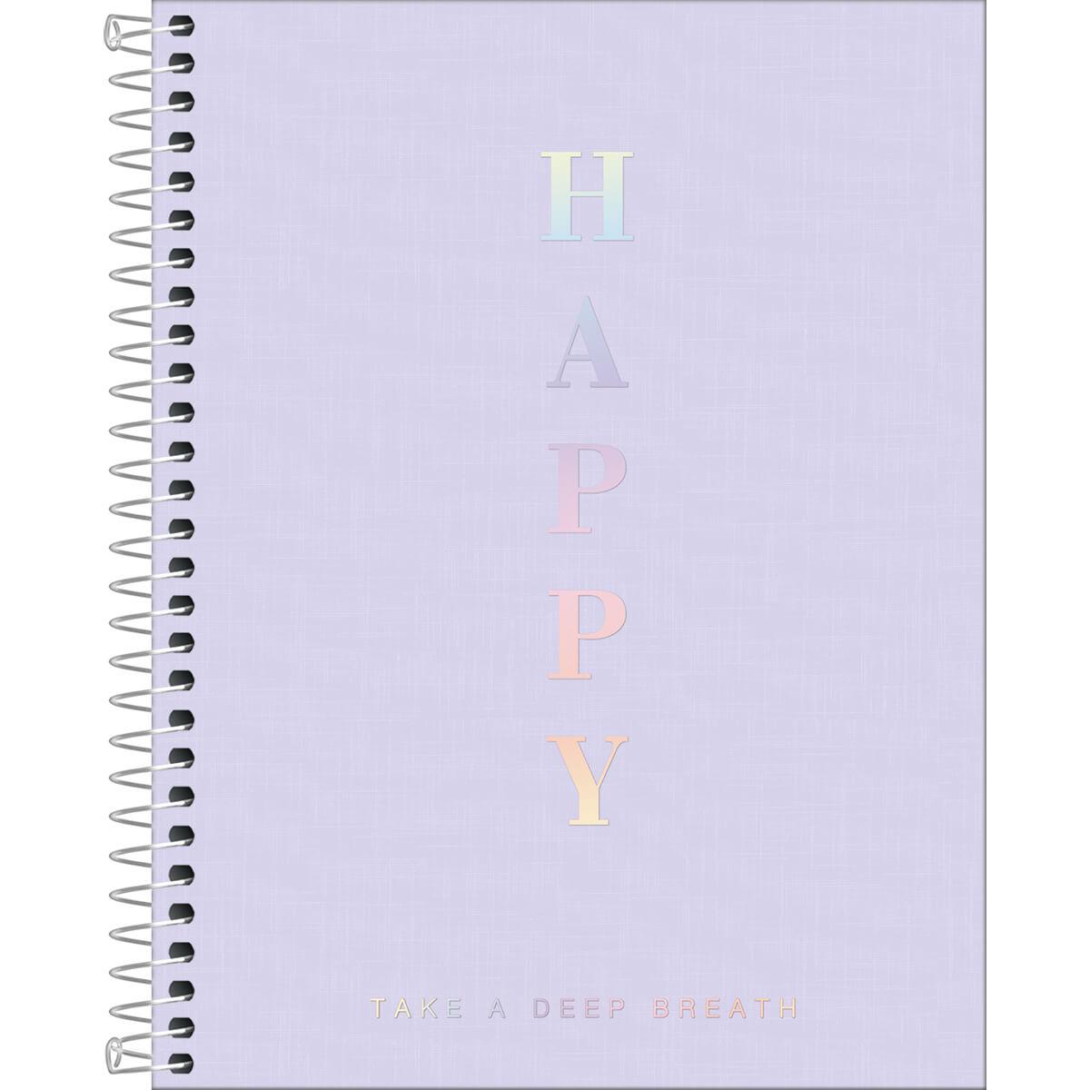 Caderno Colegial Happy Lilás 1 Matéria Tilibra