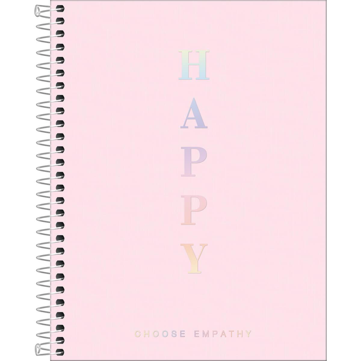 Caderno Colegial Happy Rosa 1 Matéria Tilibra