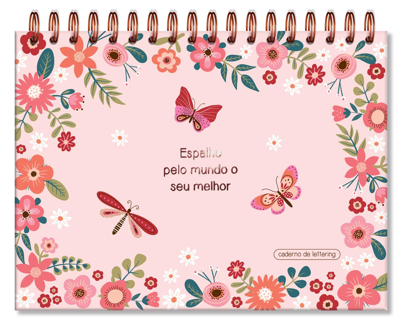 Caderno de Lettering Folhas Brancas Borboletas