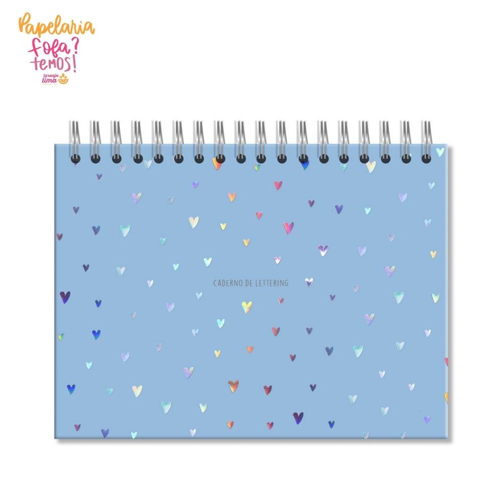 Caderno de Lettering Folhas Brancas Corações Holográficos Azul