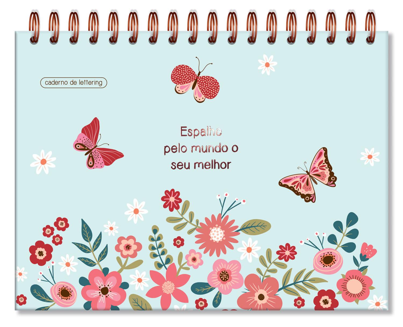 Caderno de Lettering Folhas Pretas Borboletas
