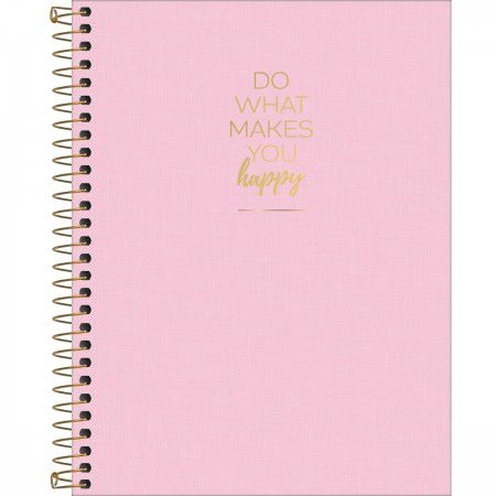 Caderno Espiral HAPPY ROSA Colegial 1 Materia