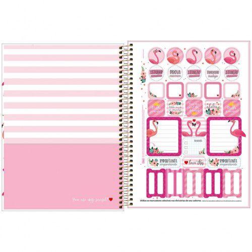 Caderno Espiral Universitario 1 Materia Aloha Casal Flamingos 80 Fls