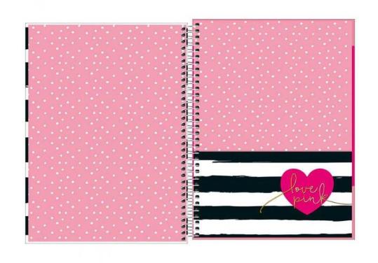 Caderno Espiral Universitario 1 Materia Love Pink Poás 96 Fls