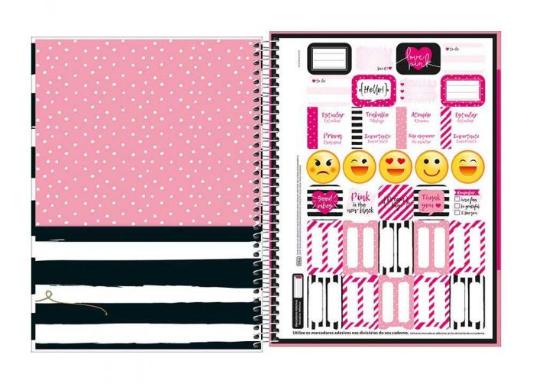 Caderno Espiral Universitario 1 Materia Love Pink Rosa 96 Fls
