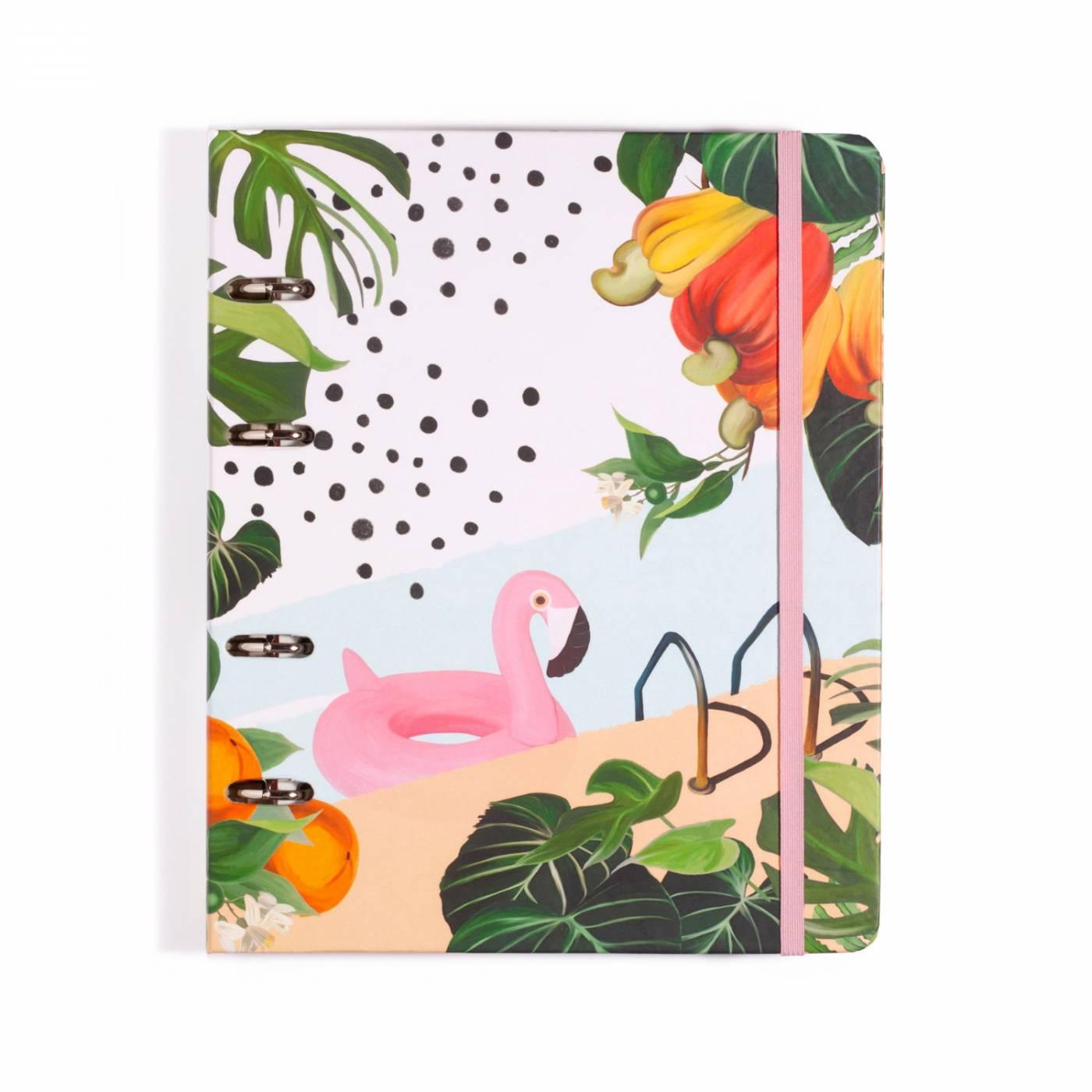 Caderno Fichario Criativo Flamingos