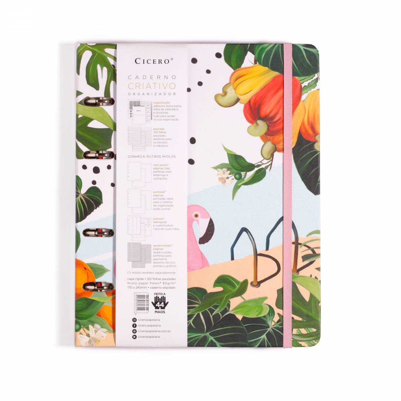 Caderno Fichario Criativo Flamingos