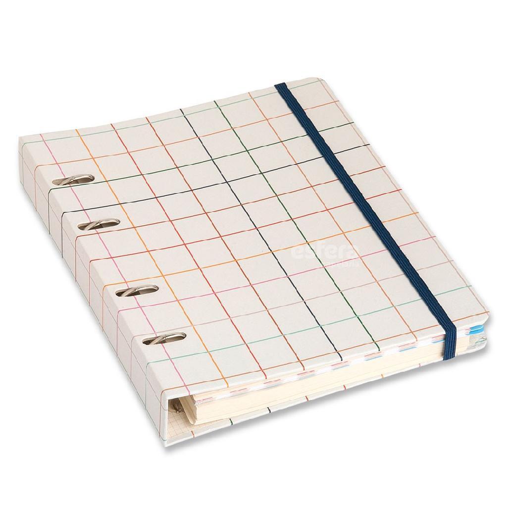 Caderno Fichário Criativo  Quadriculado Off White