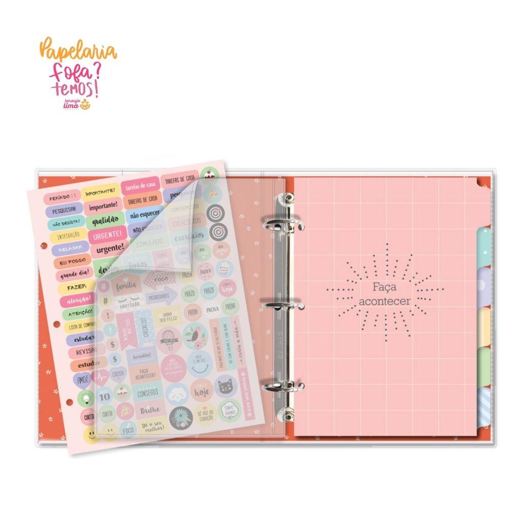 Caderno Fichário Frases Coloridas Fina Ideia