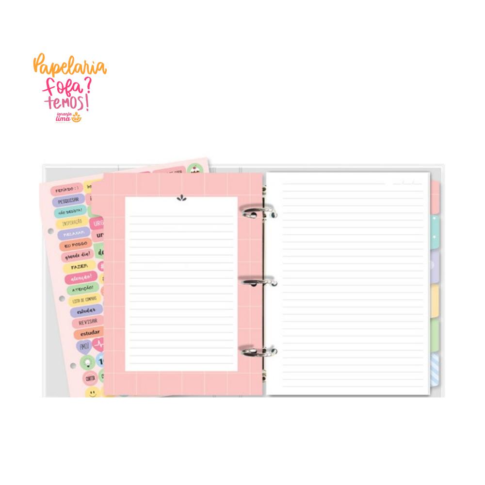 Caderno Fichario Rosa Quadriculado Siga seus Sonhos