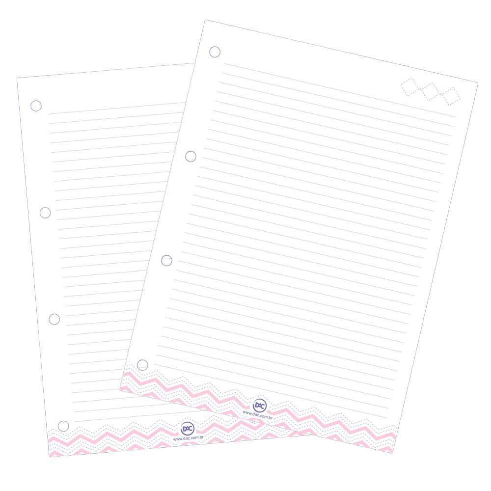 Caderno Fichario Universitario com Capa Transparente Rosa
