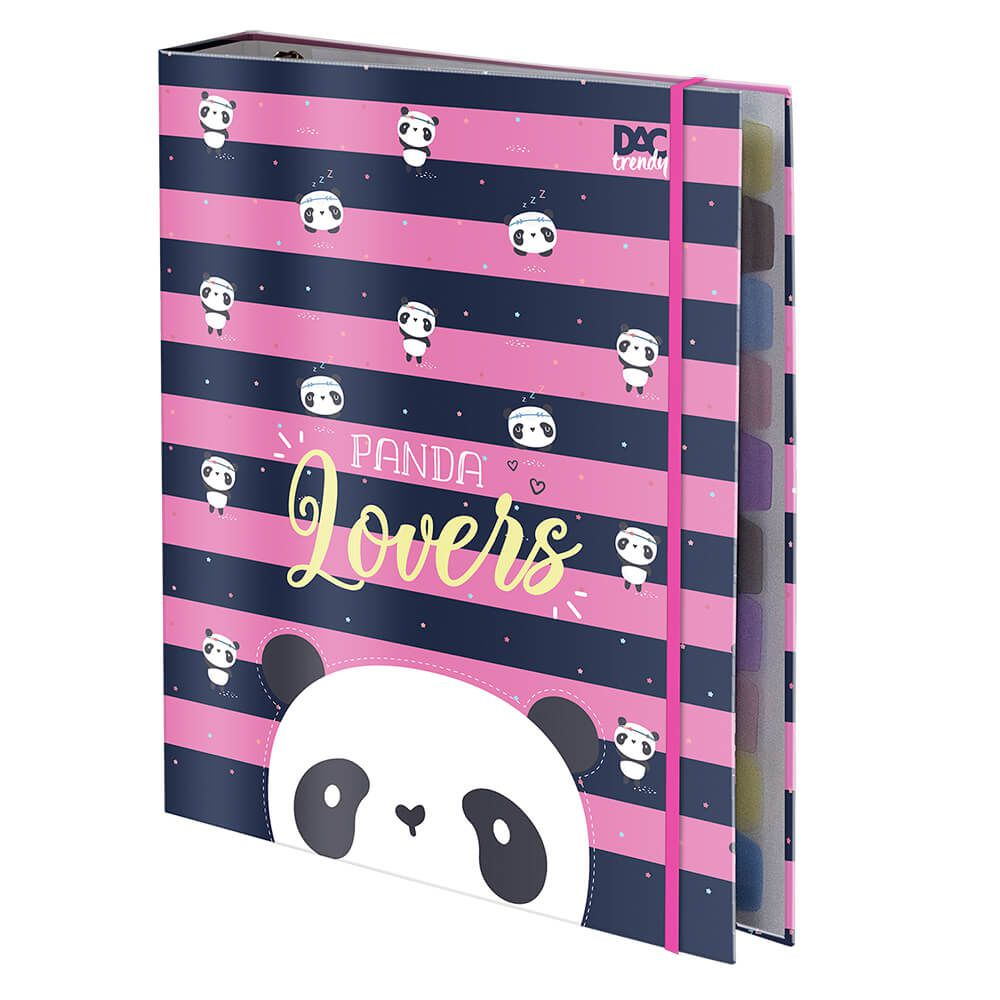 Caderno Fichario Universitario Panda Trendy