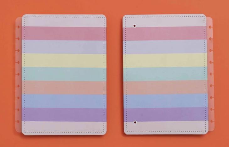 Caderno Inteligente CAPA+CONTRACAPA Arco Iris Pastel Medio