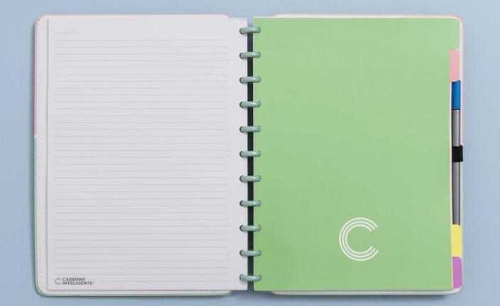 Caderno Inteligente Divisorias Pastel Grande