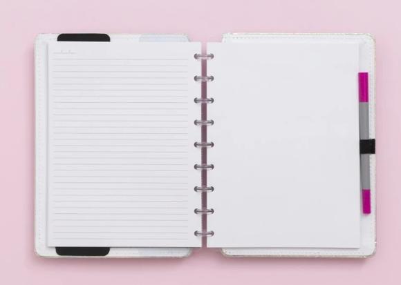 Caderno Inteligente Rosa Holografico Medio