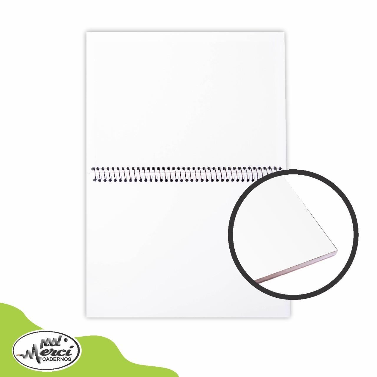 Caderno Sem Pauta Para Desenho Capa Branca Folhas Brancas 180g Merci