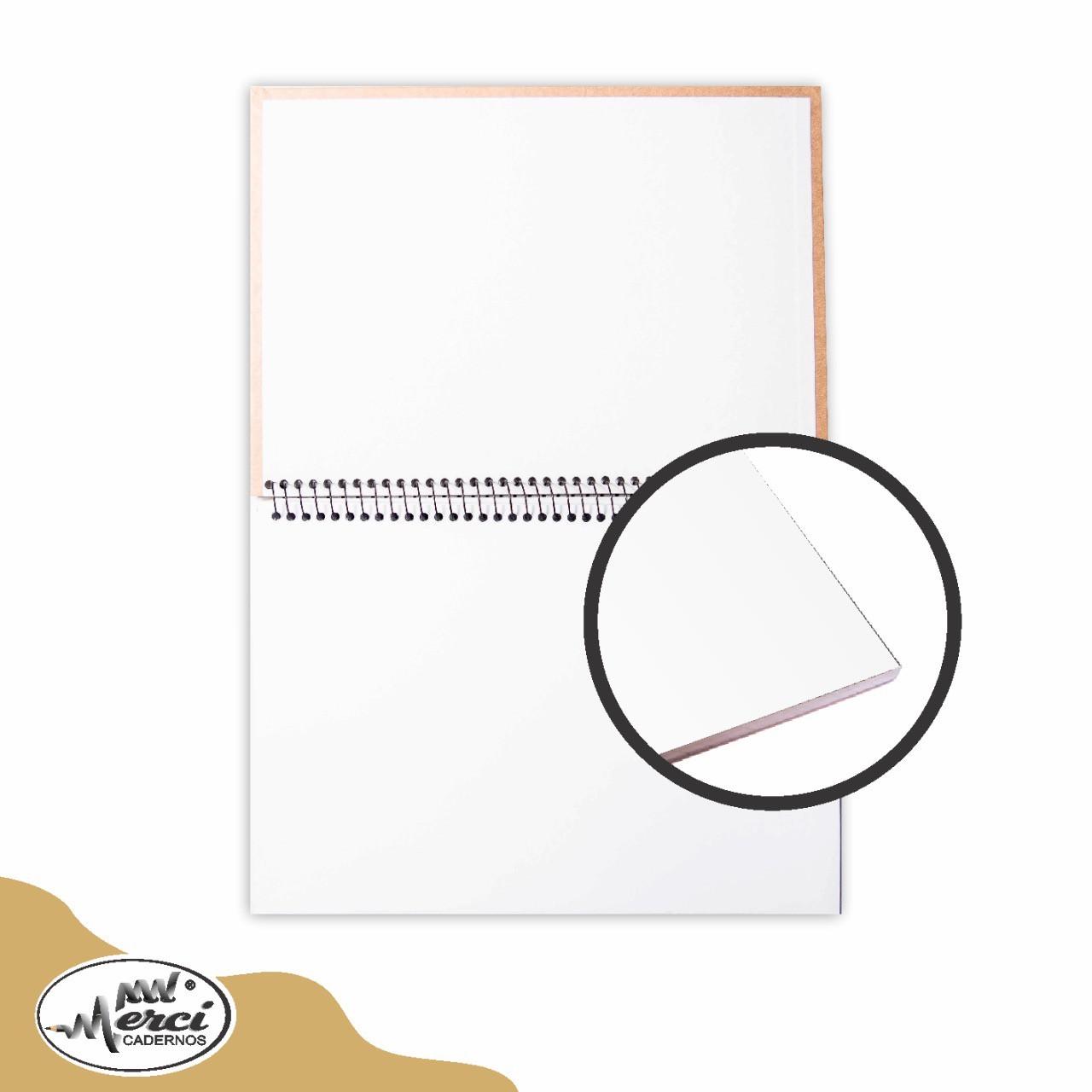 Caderno Sem Pauta Para Desenho Capa Kraft Folhas Brancas 180g Merci