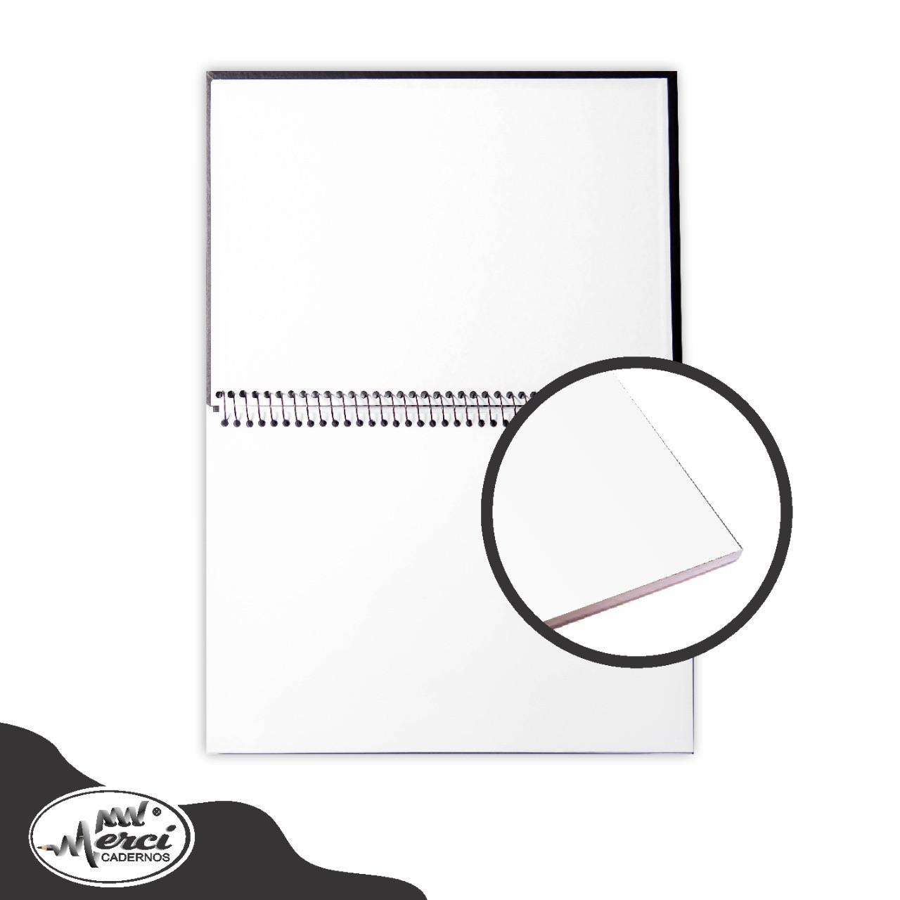 Caderno Sem Pauta Para Desenho Capa Preta Folhas Brancas 180g Merci