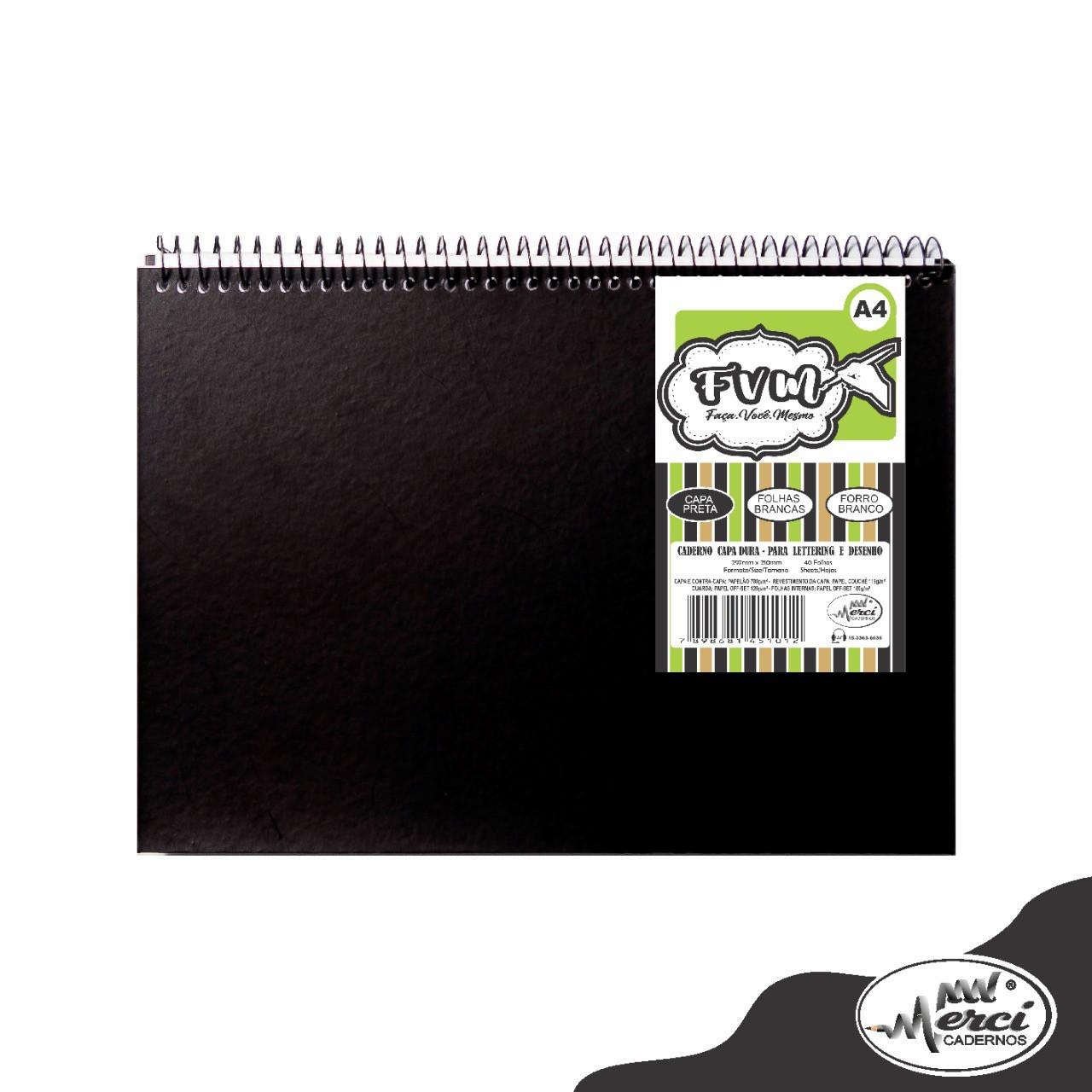 Caderno Sem Pauta Para Desenho Capa Preta Folhas Pretas 180g Merci