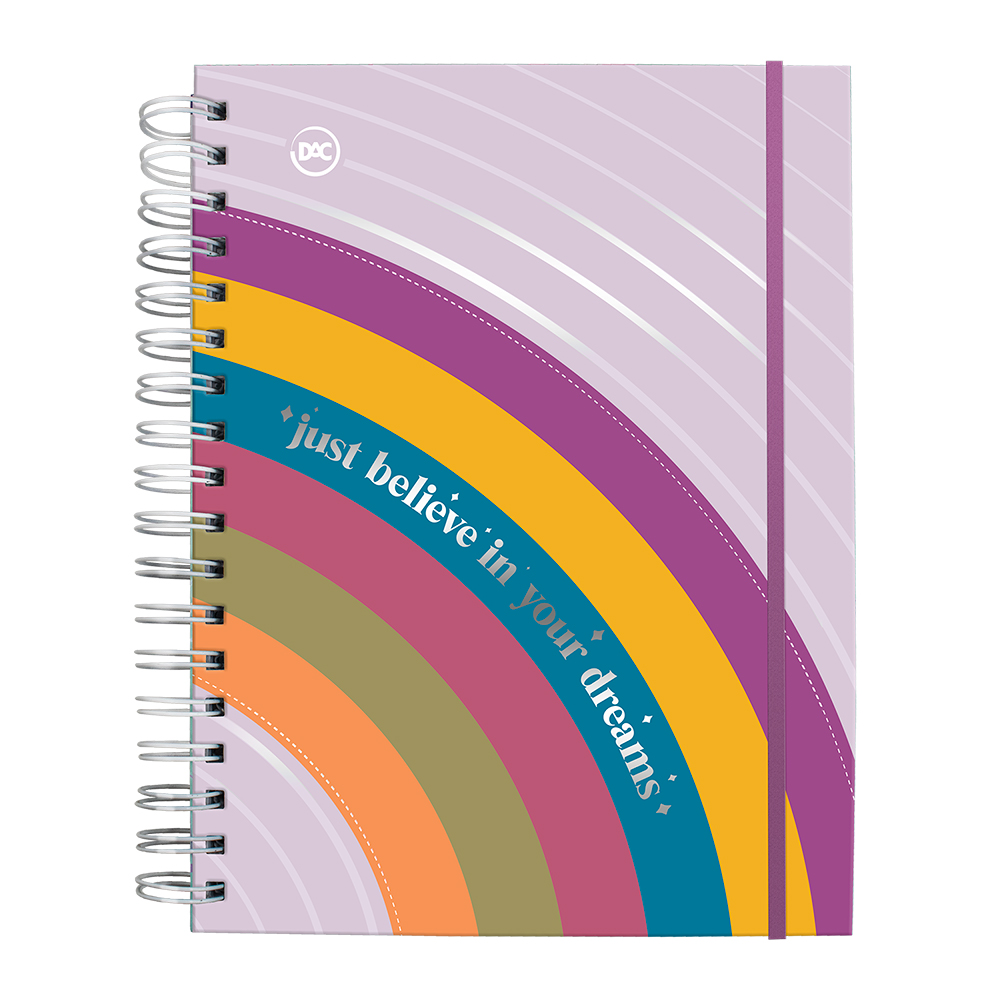 Caderno Smart Universitário 1 Matéria com Folhas Tira e Põe Arco Iris Dac