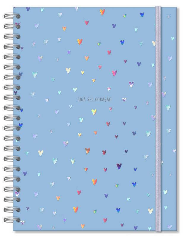 Caderno Universitário Corações Holográficos Azul 96fls