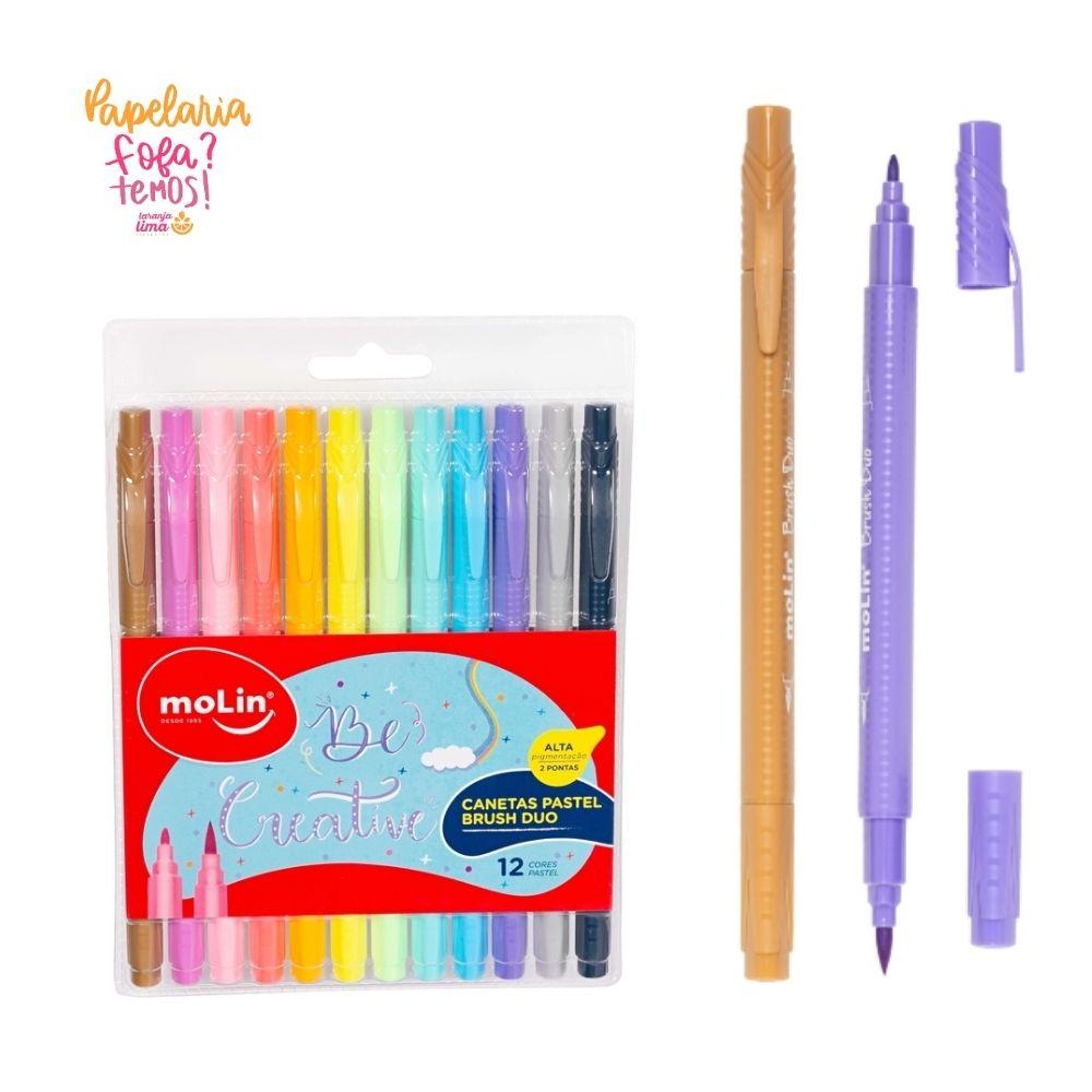 Caneta Duo Brush Molin Pastel Com 12 Cores