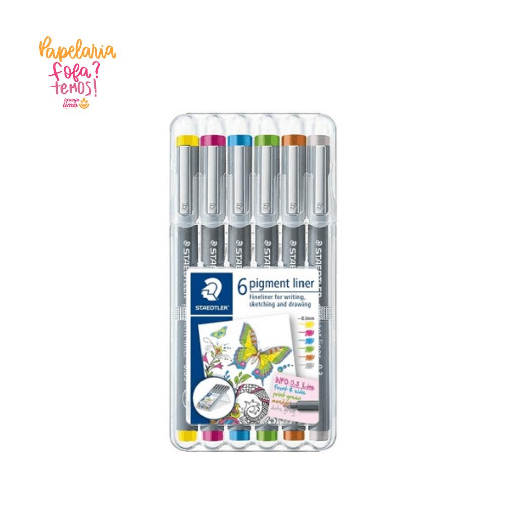 Caneta Fineliner STAEDTLER Pigment Liner Color 0.3mm 6 Cores