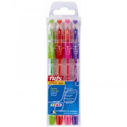 Caneta Gel Tris Effect Neon 4 Cores