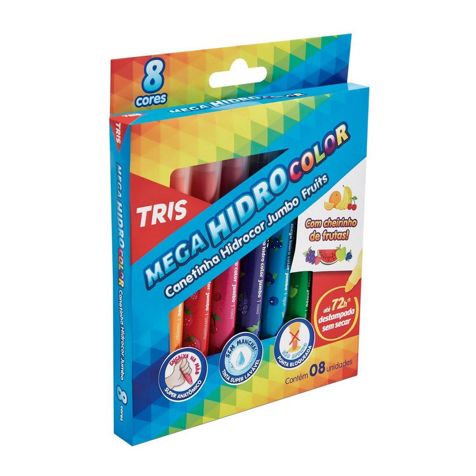 Caneta Hidrocor Tris Mega Hidro Color Jumbo Fruits 8 Cores