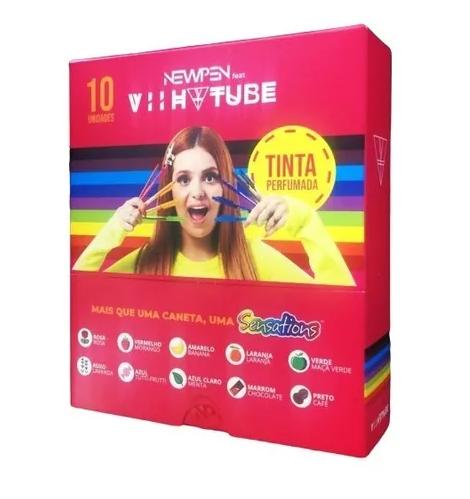 Caneta Newpen 1.0 Clic Sensations VII TUBE Tinta Perfumada 10 Cores