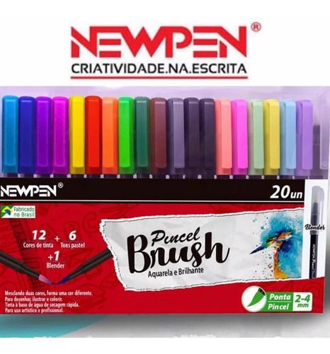 Caneta Newpen Brushpen Ponta Media com 20