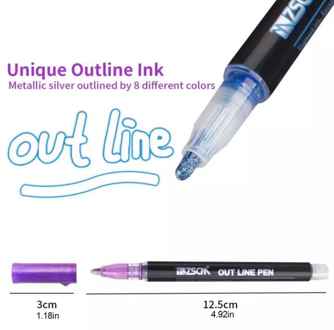 Caneta Out Line Kit com 8 Cores