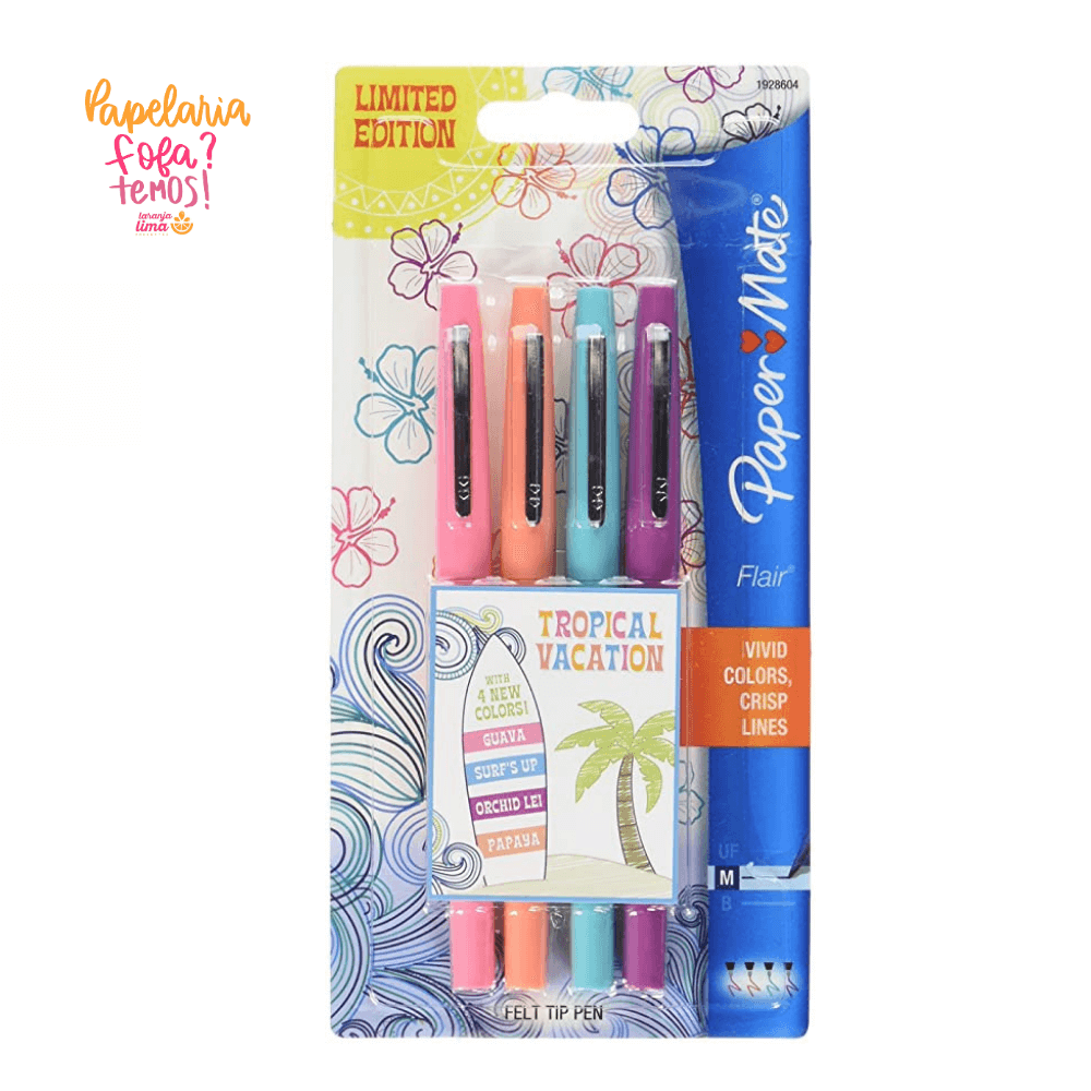 Caneta Paper Mate Flair Tropical Vacation M 4 Cores