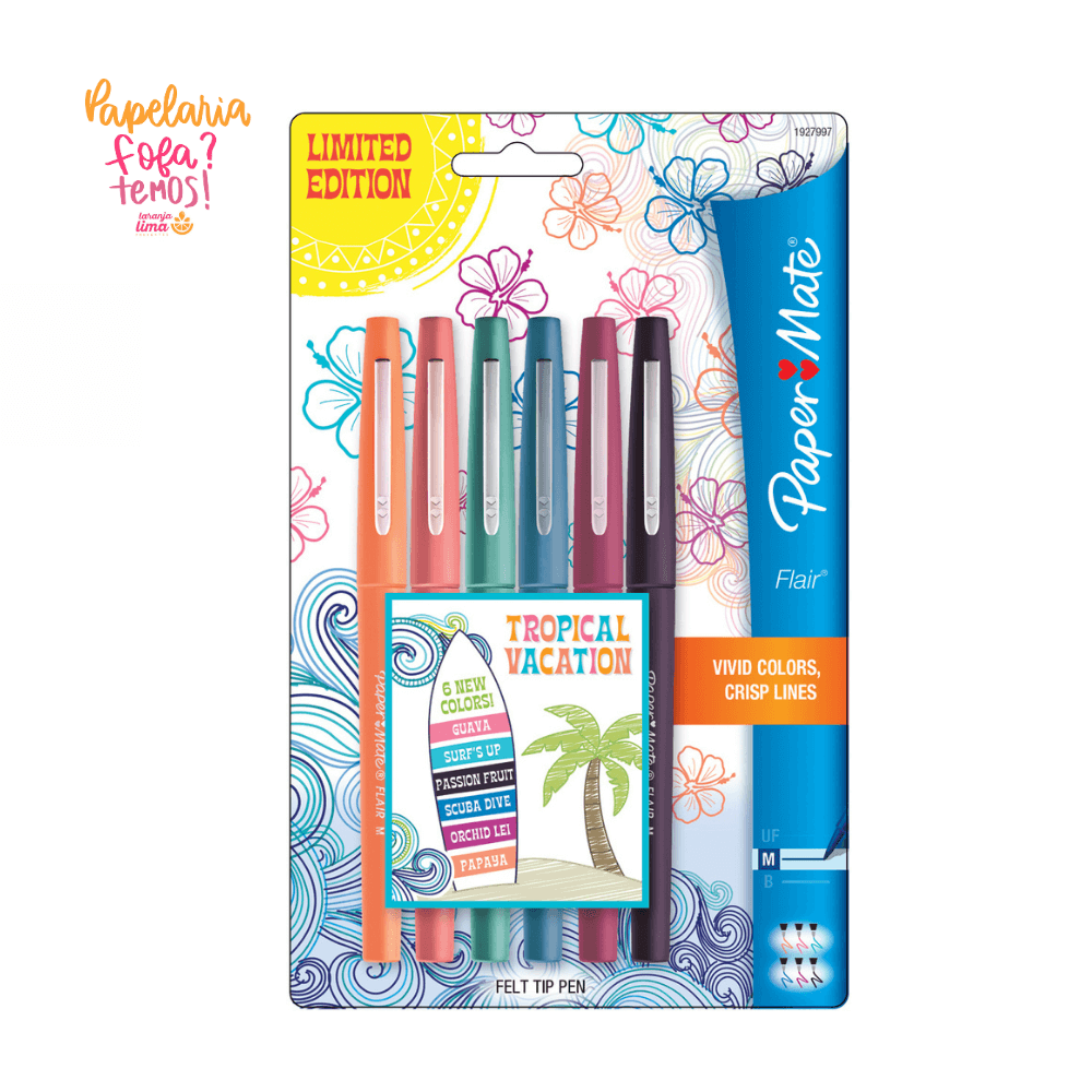 Caneta Paper Mate Flair Tropical Vacation M 6 Cores
