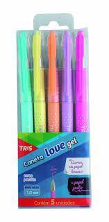 Caneta Tris Love Gel Pastel C/5