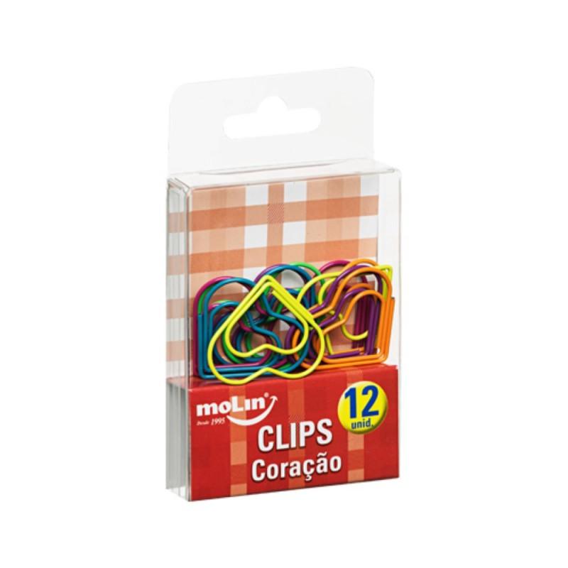 Clips Coracao Colorido C/ 12 Molin