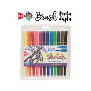Brush Pen Tris Sketch Duo 12 Cores Ponta Pincel + Ponta Fina