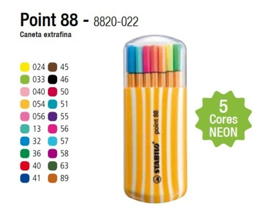 Estojo Caneta Stabilo Point 88 Neon 20 Cores | Laranja Lima Papéis