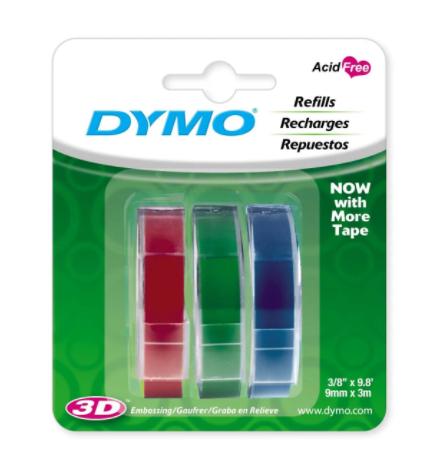 Fita Vinílica Para Rotulador Manual Dymo Com 3 Cores